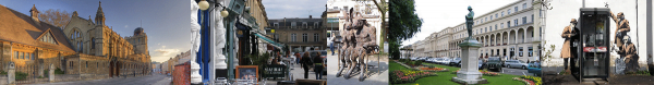 Cheltenham removals page header with pictures of Montpelier, the promenade and the banksy spybooth
