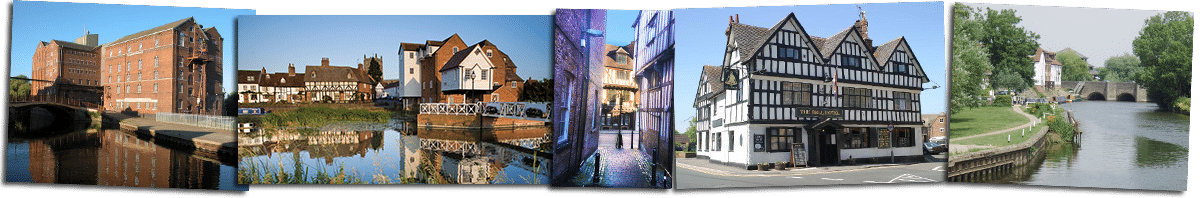 Pictures of Tewkesbury, Healings Mill, Abbey Mill, Alleyway off the high street, The Bell Hotel and the River Avon